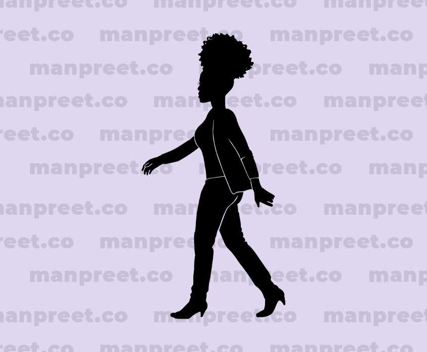 African  American Walking Woman