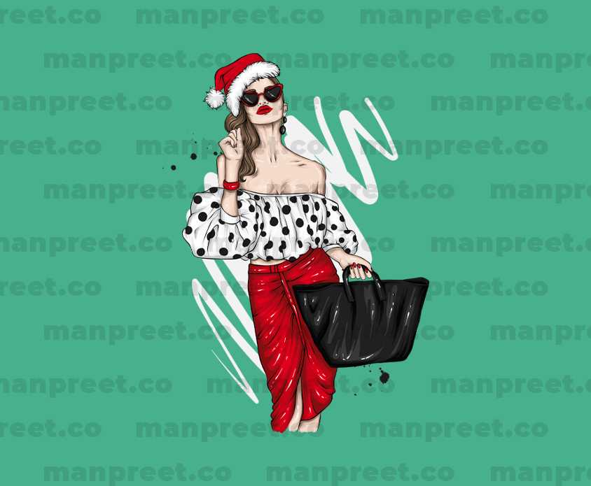 Stylish Woman with Santa Hat Christmas Design